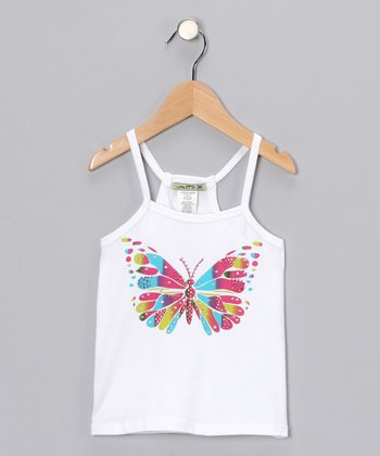 White Avatar Butterfly Tank - Girls