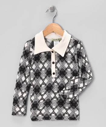 Gray & White Argyle Polo - Girls