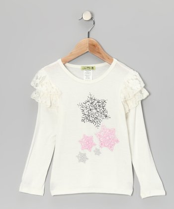 Ivory Snowflake Paris Ruffle Tee - Infant, Toddler & Girls