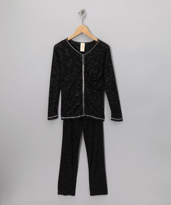 Black Sparkle Textured Tunic & Leggings - Girls