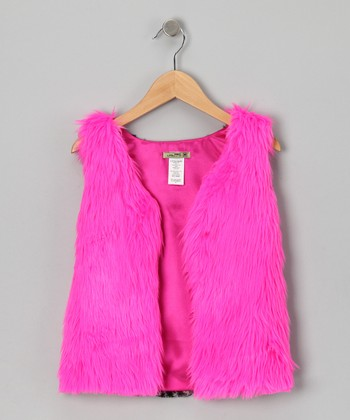 Hot Pink Faux Fur Hot Cha Cha Vest - Toddler & Girls