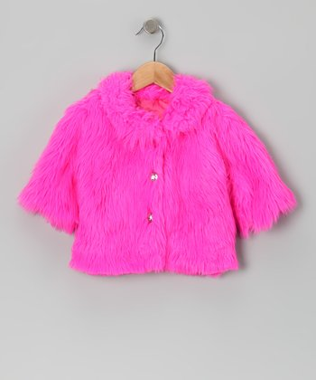 Hot Pink Faux Fur Cha Cha Jacket - Infant & Toddler
