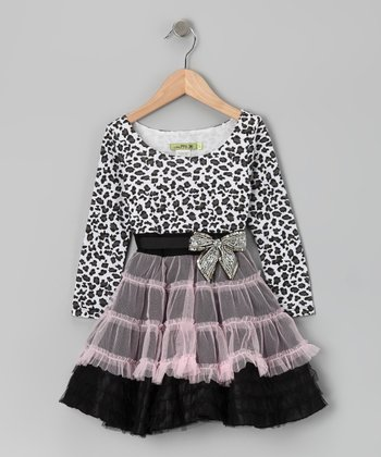 Black Le Petit Chat Ruffle Dress - Toddler & Girls