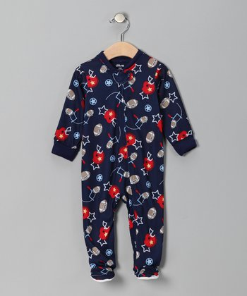 Navy & Red Football Footie - Infant