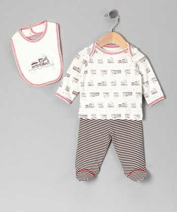 Black & White Stripe Choo Choo Tee Set - Infant