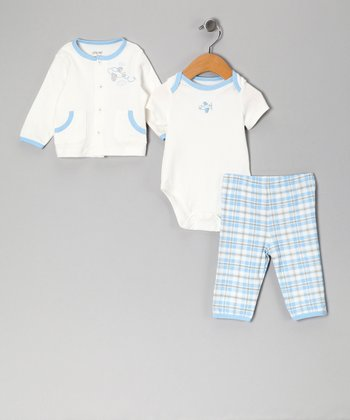 Blue Plaid Plane Take Me Home Bodysuit Set - Infant