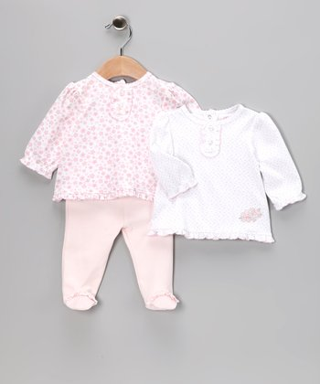 Pink Floral Sweet Footie Pants Set - Infant