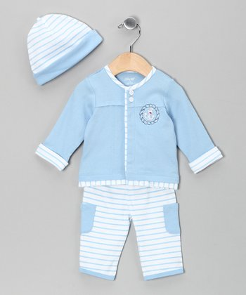 Light Blue Stripe Pants Set - Infant
