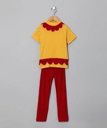 Yellow Scallop Tunic & Red Leggings - Toddler & Girls