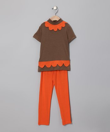 Light Brown Scallop Tunic & Orange Leggings - Infant, Toddler & Girls