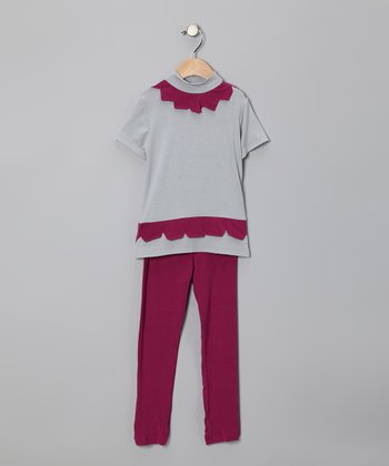 Light Gray Scallop Tunic & Fuchsia Leggings - Infant, Toddler & Girls