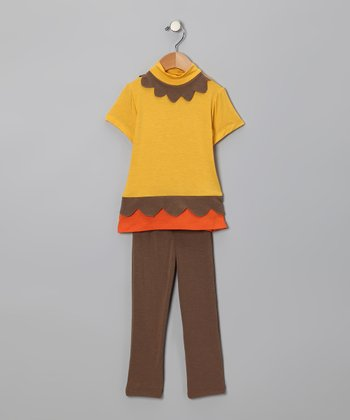 Yellow Scallop Tunic & Brown Leggings - Infant, Toddler & Girls