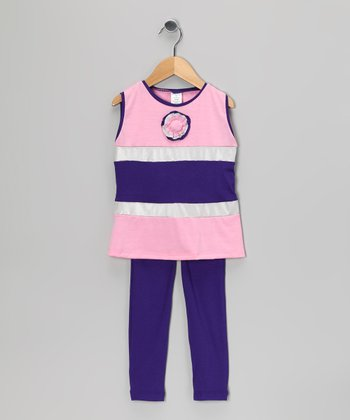 Purple & Pink Stripe Tank & Leggings - Toddler & Girls