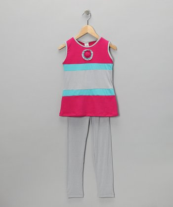 Hot Pink Stripe Tunic & Leggings - Toddler & Girls