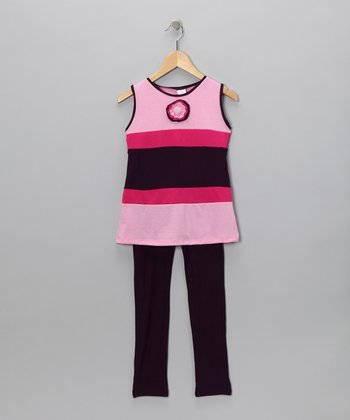 Bubble Gum Pink Stripe Tunic & Leggings - Toddler & Girls