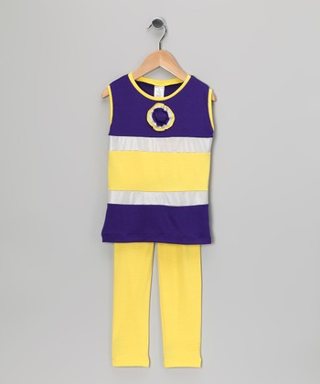 Purple & Yellow Stripe Tunic & Leggings - Toddler & Girls