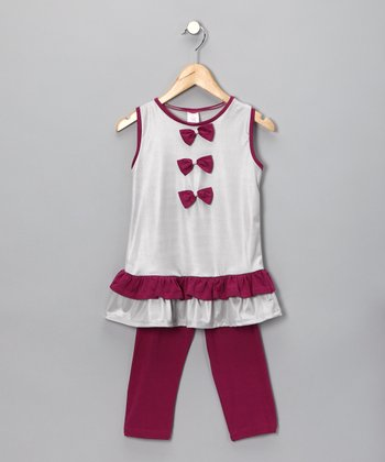 Silver Bow Tunic & Leggings - Toddler & Girls