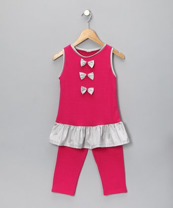 Hot Pink Bow Tunic & Leggings - Toddler