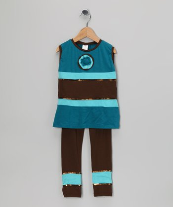 Brown & Blue Stripe Tunic & Leggings - Toddler