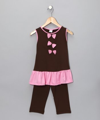Brown Bow Tunic & Leggings - Toddler
