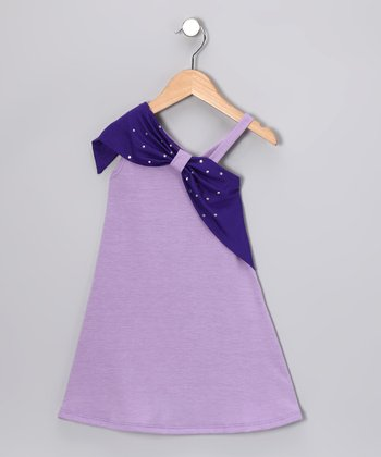 Lavender & Purple Asymmetrical Dress - Toddler