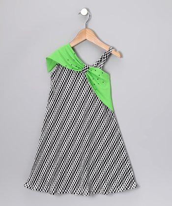 Black & Green Polka Dot Asymmetrical Dress - Toddler & Girls
