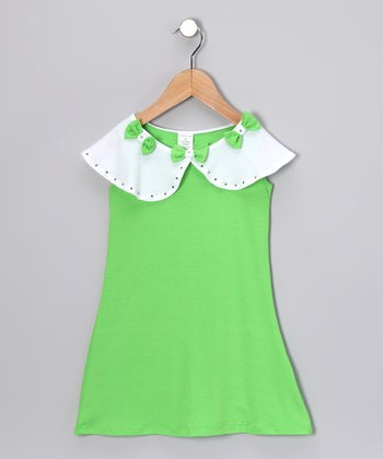Lime & White Bow Dress - Girls