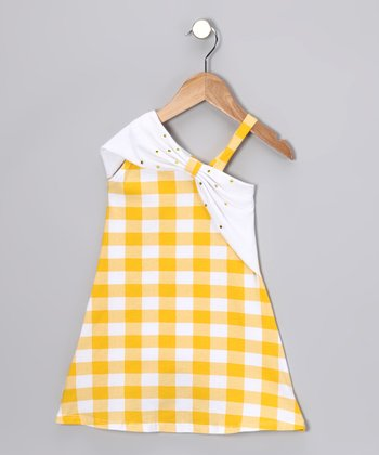 Yellow Gingham Asymmetrical Dress - Girls