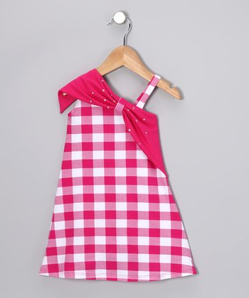 Hot Pink Checkerboard Asymmetrical Dress - Toddler & Girls
