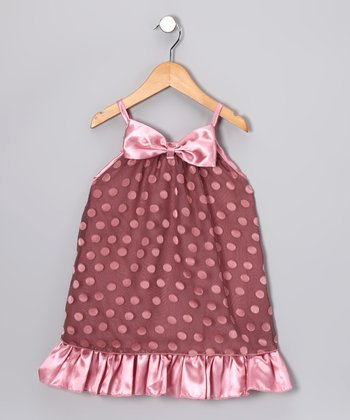 Salmon Pink Polka Dot Bow Dress - Toddler & Girls
