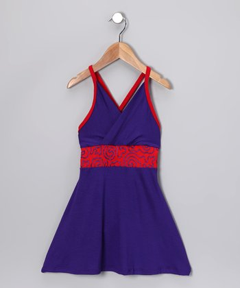 Purple & Red Swirl Dress - Toddler