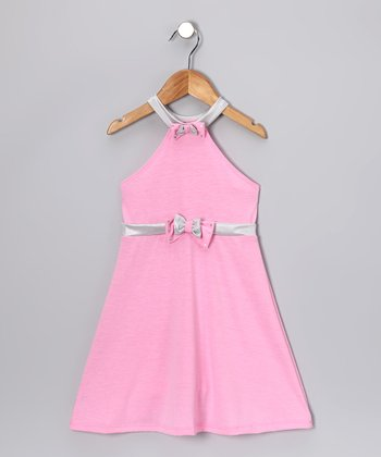 Pink & Silver Halter Dress - Toddler