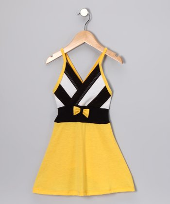 Yellow & Black Stripe Dress - Toddler & Girls