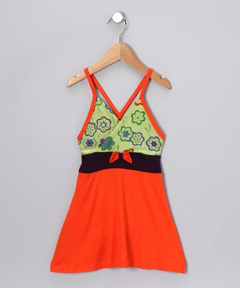 Orange & Green Flower Dress - Toddler