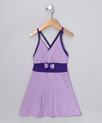 Lavender & Purple Bow Dress - Toddler & Girls
