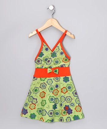 Green & Orange Flower Dress - Toddler