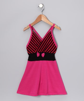Hot Pink Stripe Dress - Toddler & Girls