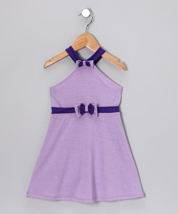 Lavender & Purple Halter Dress - Toddler & Girls