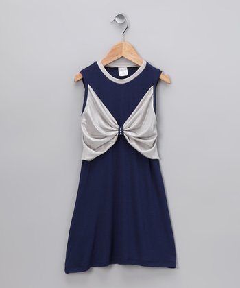 Navy Butterfly Bow Dress - Toddler & Girls