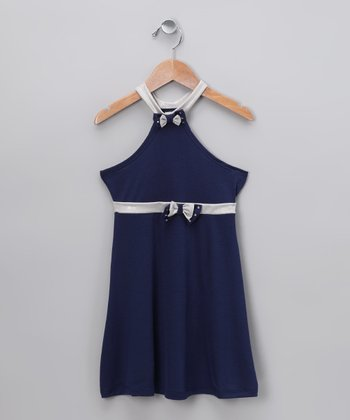 Navy Halter Dress - Toddler & Girls