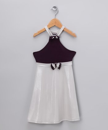 Plum & Silver Halter Dress - Infant, Toddler & Girls
