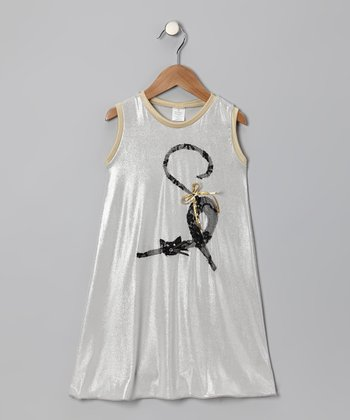 Silver Cat Swing Dress - Toddler