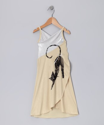 Beige & White Cat Wrap Dress - Toddler