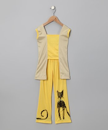Yellow Cat Top & Pants - Toddler