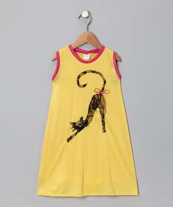 Yellow & Hot Pink Cat Swing Dress - Toddler