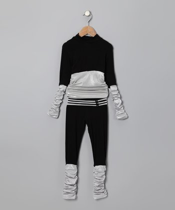 Black Ruched Top & Pants - Toddler