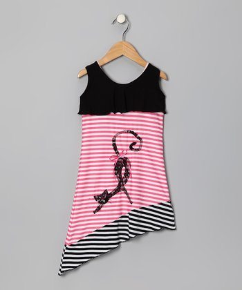 Black Stripe Cat Dress - Toddler