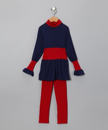 Blue & Red Color Block Tunic & Leggings - Toddler
