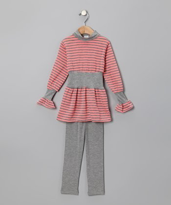 Orange Stripe Tunic & Gray Leggings - Toddler
