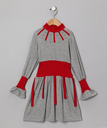 Gray & Red Dress - Infant, Toddler & Girls